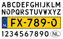 Dutch car plate with symbols, numbers and letters Stock Photography