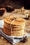 Dutch caramel waffles Stock Photos