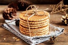 Dutch caramel waffles Royalty Free Stock Images