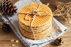 Dutch caramel waffles Royalty Free Stock Photo