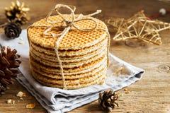 Dutch caramel waffles Royalty Free Stock Photos
