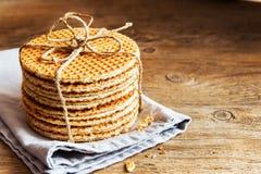 Dutch caramel waffles Royalty Free Stock Photography