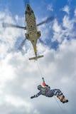 The Dutch Caribbean Coastguard - winchman on the winch Stock Image