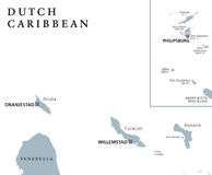 Dutch Caribbean political map Royalty Free Stock Images