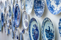 Dutch ceramic plates. Mounted on wall Stock Photography