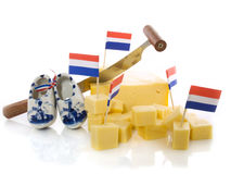 Dutch cheese. Cut in cubes isolated Royalty Free Stock Image