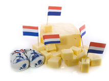 Dutch cheese. Cut in cubes isolated Stock Images
