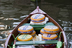 Dutch cheese in boat, Alkmaar, Holland Stock Photography