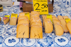 Dutch cheese on display in the store Royalty Free Stock Photos