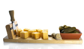 Dutch cheese and pickle Royalty Free Stock Images