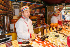 Dutch cheese stall at the Manchester Chistmas market Royalty Free Stock Photo