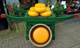 Dutch cheese on wooden barrow Stock Photography