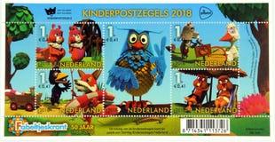 Dutch children`s postage stamps De Fabeltjeskrant. Amsterdam, the Netherlands - October 31, 2018: Dutch children`s postage stamps De Fabeltjeskrant Dutch for ` stock images
