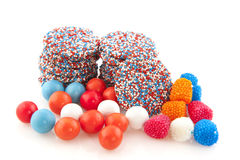 Dutch chocolat candy and other sweets. In colors of the flag Stock Photo