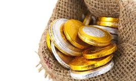 Dutch chocolate guilders coins for Sinterklaas Stock Photo