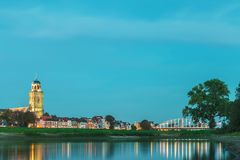 The Dutch city of Deventer in Overijssel with the river IJssel i royalty free stock images