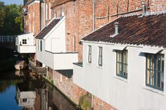 Dutch city with house extensions above the canal Royalty Free Stock Photos