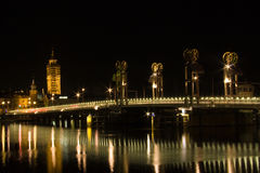 Dutch cityscape at night. Cityscape at night of Kampen (the Netherlands royalty free stock image