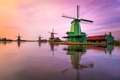Dutch Classic. A late night first edit of my first trip ever to the typical Dutch windmills of the Zaanse Schans. I cannot believe that I have not yet been here Stock Images