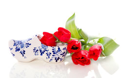 A Dutch clog with red tulips Stock Photography