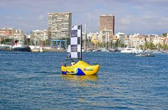 A Dutch Clog Sailing Boat. A Dutch Clog sailboat in Alicante harbour at the start of the Volvo Ocean Race 2017 Stock Image