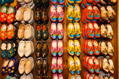 Dutch Clogs Amsterdam. Typical Dutch clogs on sale on the flower market in Amsterdam, Netherlands Stock Images