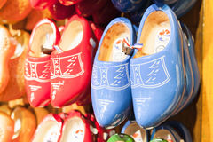 Dutch clogs made of wood, traditional shoe Royalty Free Stock Image