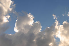 Dutch clouds. Blue sky with white and grey clouds stock images