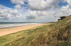 Dutch Coast. View along the Dutch coast with WWII bunkers in the dunes Stock Photos
