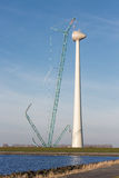 Dutch coast with construction site new wind turbine. Stock Photography