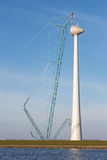Dutch coast with construction site new wind turbine. Stock Image