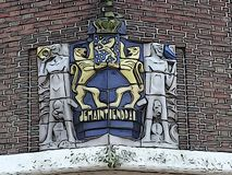 Dutch coat of arms on former police station in Steenwijk vector illustration