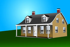 Dutch Colonial Style House. The Dutch Colonial home with gambrel roof,two fireplaces and doormers for extra living space Stock Images