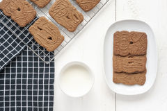 Dutch Cookies and Milk Royalty Free Stock Photo