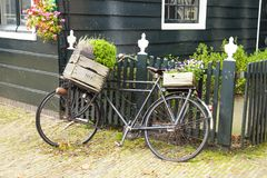 Dutch countryside with retro bicycle Royalty Free Stock Photography