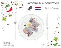 Dutch Cuisine. European national dish collection.  Raw herring i. Dutch Cuisine. European national dish collection.  Raw herring  on white, infographic. Vector Stock Images