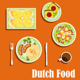 Dutch cuisine traditional dishes and snacks Stock Photos