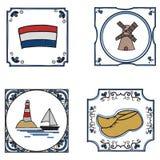 Dutch culture. Set of doodle style Dutch traditional tiles vector illustration