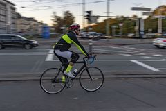 Dutch cyclist in the morning royalty free stock image