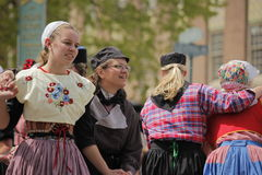 Dutch Dancers in Holland Michigan. Female Dutch Dancers at the annual Tulip Time in Holland Michigan Royalty Free Stock Image