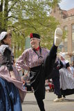 Dutch Dancers in Holland Michigan. Two female Dutch Dancers at the annual Tulip Time in Holland Michigan Royalty Free Stock Image
