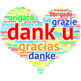 Dutch Dank U, Heart shaped word cloud Thanks, on white. Focus on Dutch: Dank u. Word cloud in heart shape on white Background. saying thanks in multiple Stock Images