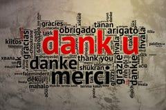 Dutch: Dank u, Open Word Cloud, Thanks, Grunge Background Stock Image