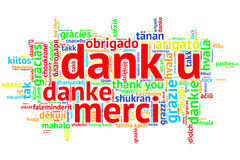Dutch: Dank u, Open Word Cloud, Thanks, on white. Focus on Dutch: Dank u. Word cloud in open form on white Background. saying thanks in multiple languages Royalty Free Stock Image