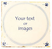 Dutch Delft blue tile with room for text Stock Photography