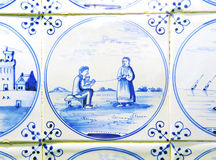 dutch delft blue tiles Stock Photo