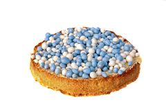 Dutch delicacy, biscuit with colored balls. Dutch delicacy, biscuit with blue and white bcolored balls when a little baby boy is born Stock Images