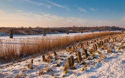 A Dutch dike in winter Royalty Free Stock Photos
