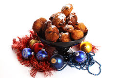 Dutch donuts called Oliebollen Stock Photos