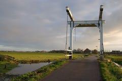 Dutch drawbridge. Old-fashioned drawbridge in the Netherlands Royalty Free Stock Photography